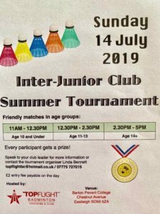 Image of flyer for Junior Tournament _ Aug 2018