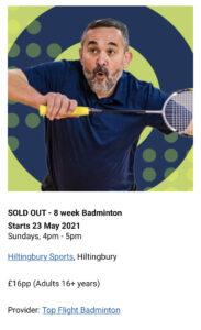 Eastleigh Brorugh Council 8 week badminton course